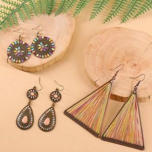 🆕 3 Pairs Multicolor Round/Water Drop Earrings